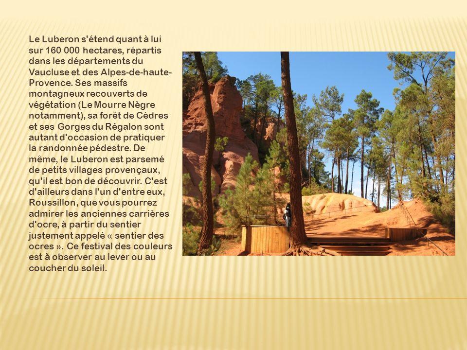 Le Luberon s étend quant à lui sur 160 000 hectares, répartis dans les départements du Vaucluse et des Alpes-de-haute-Provence.