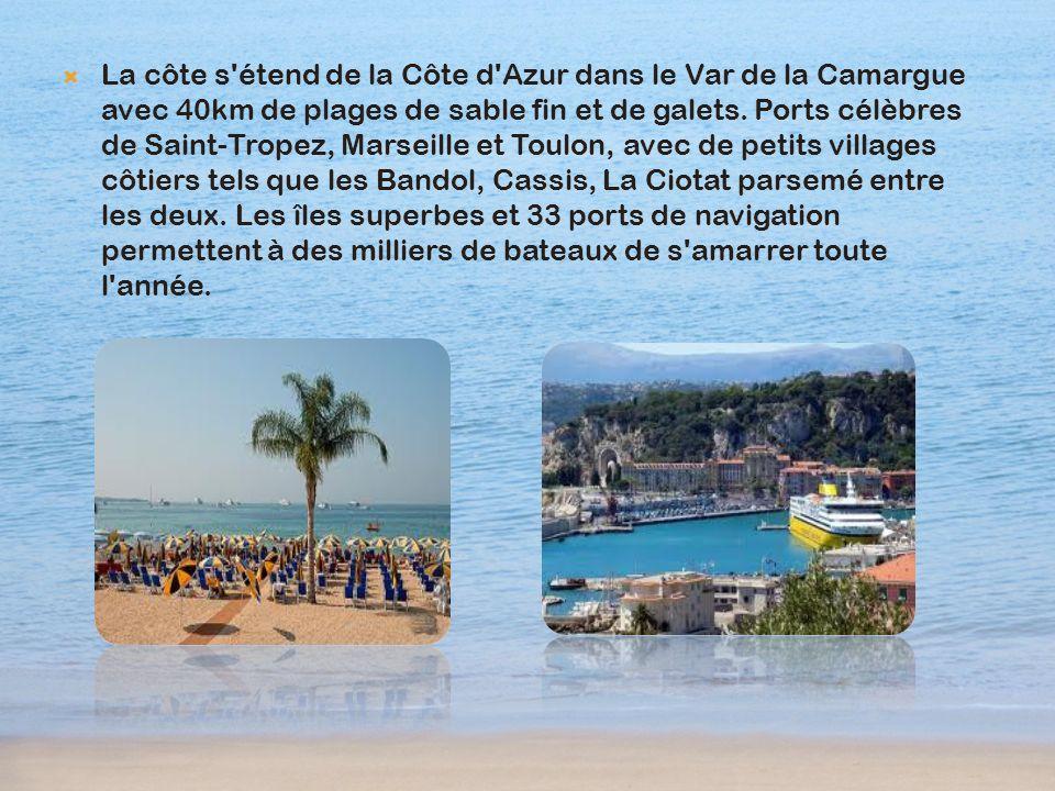 La côte s étend de la Côte d Azur dans le Var de la Camargue avec 40km de plages de sable fin et de galets.