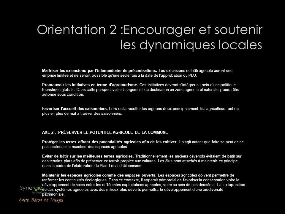 Orientation 2 :Encourager et soutenir les dynamiques locales