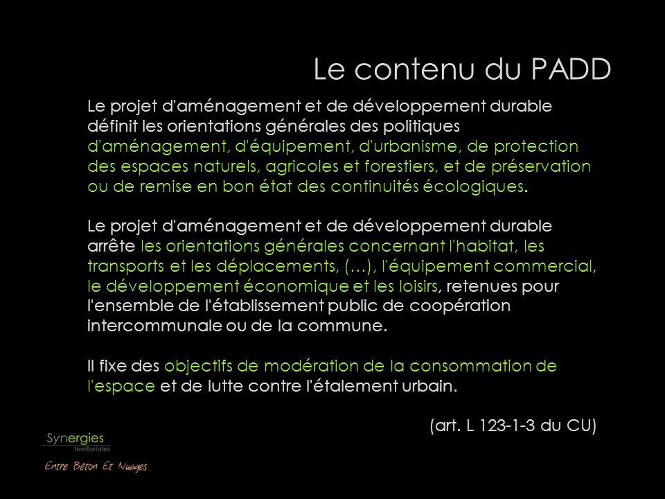 Le contenu du PADD