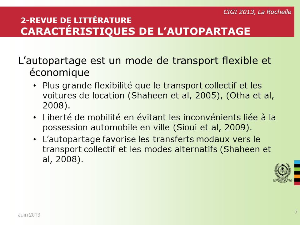 2-Revue de littérature CARACTÉRISTIQUES de l'autopartage