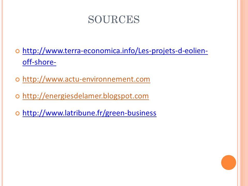 SOURCES http://www.terra-economica.info/Les-projets-d-eolien- off-shore- http://www.actu-environnement.com.