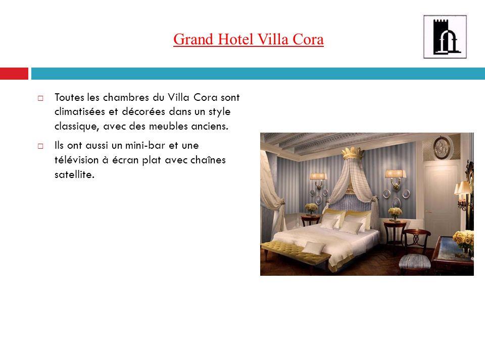 Grand Hotel Villa Cora Toutes les chambres du Villa Cora sont climatisées et décorées dans un style classique, avec des meubles anciens.