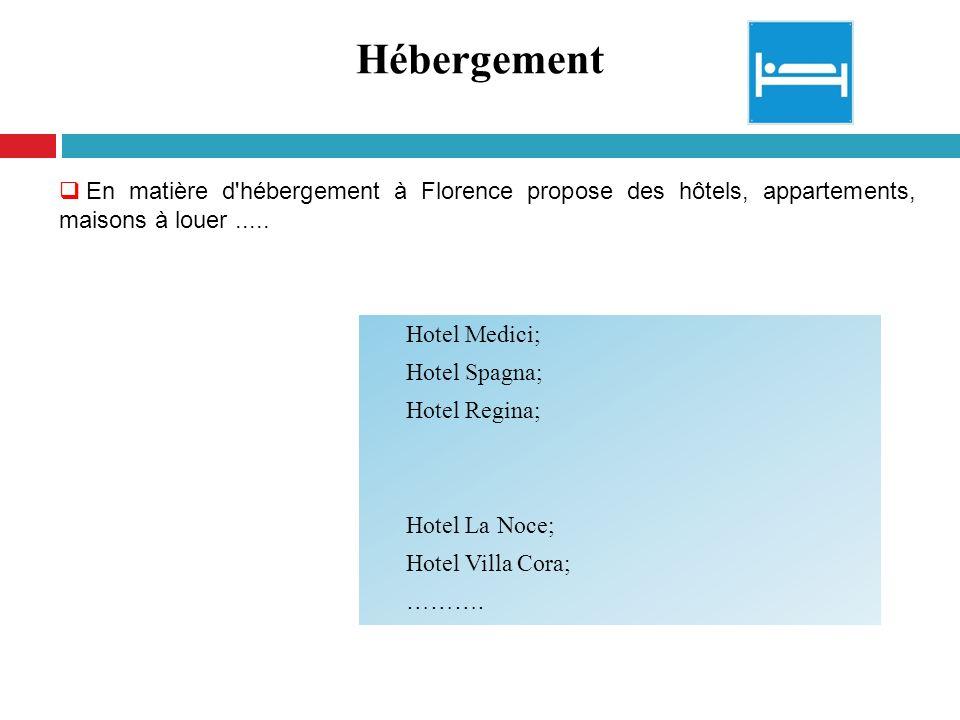 Hébergement En matière d hébergement à Florence propose des hôtels, appartements, maisons à louer .....