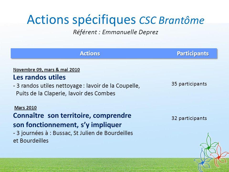 Actions spécifiques CSC Brantôme Référent : Emmanuelle Deprez