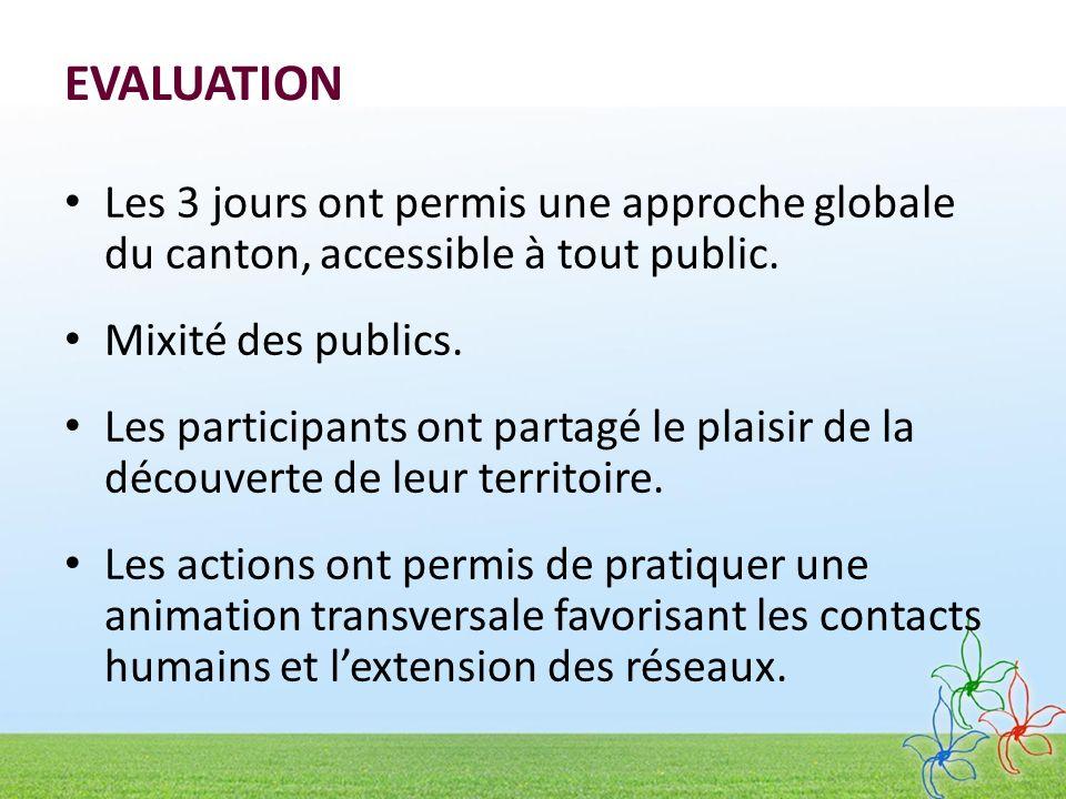 EVALUATION Les 3 jours ont permis une approche globale du canton, accessible à tout public. Mixité des publics.