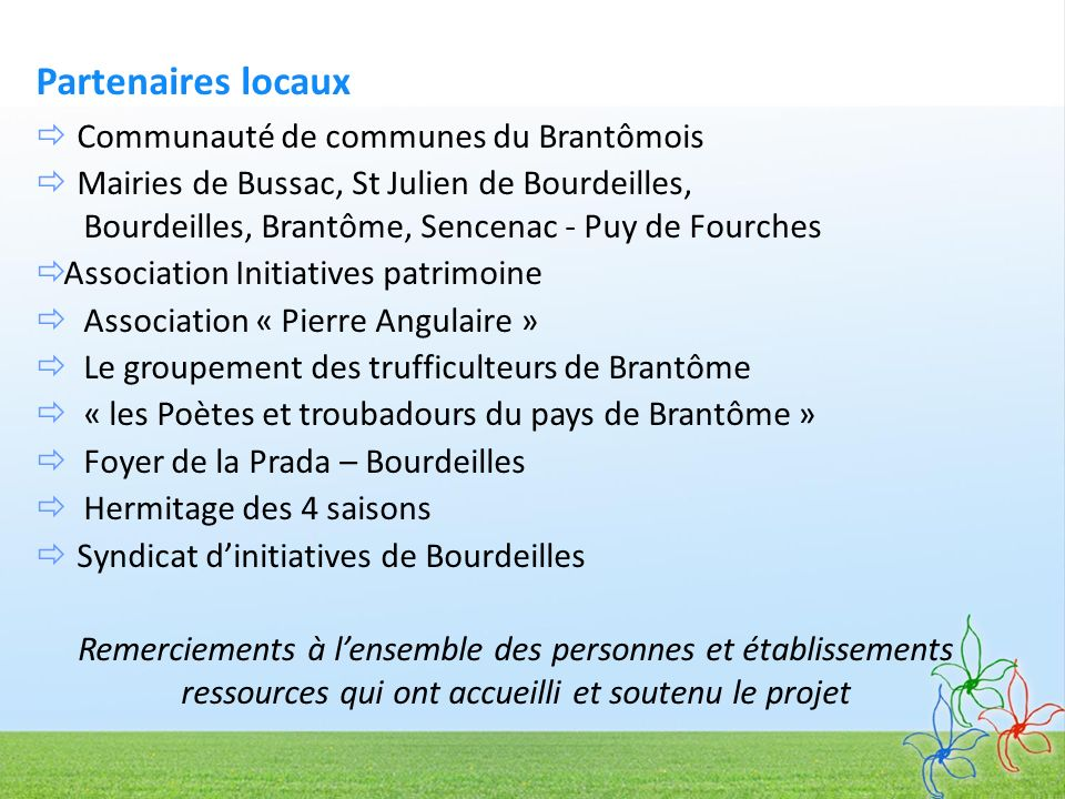 Partenaires locaux  Communauté de communes du Brantômois