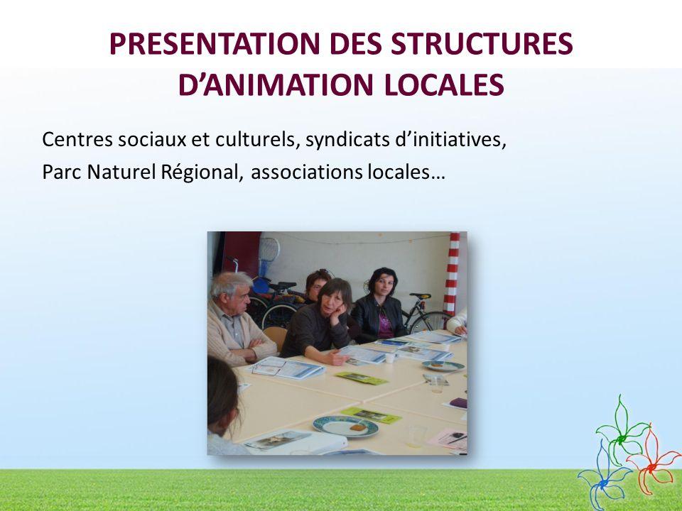 PRESENTATION DES STRUCTURES D'ANIMATION LOCALES