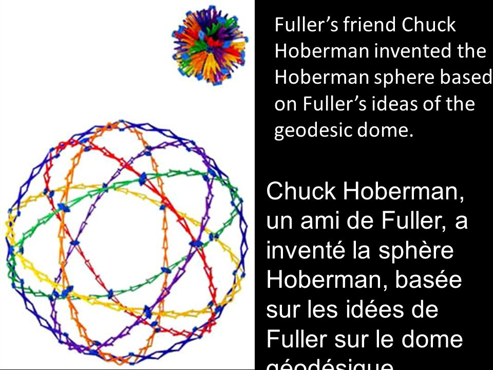 Fuller's friend Chuck Hoberman invented the Hoberman sphere based on Fuller's ideas of the geodesic dome.