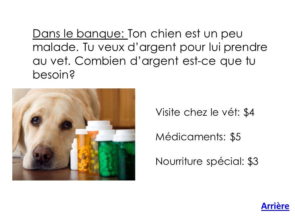 Dans le banque: Ton chien est un peu malade