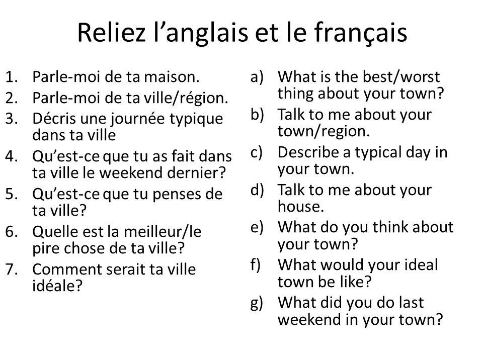 Reliez l'anglais et le français