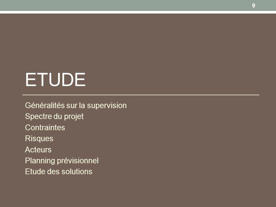Etude Généralités sur la supervision Spectre du projet Contraintes