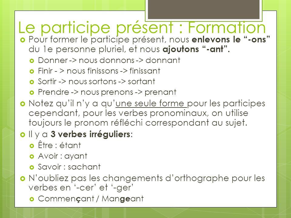 Le participe présent : Formation