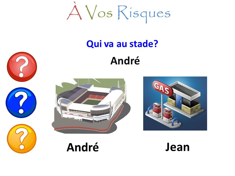 À Vos Risques Qui va au stade André André Jean