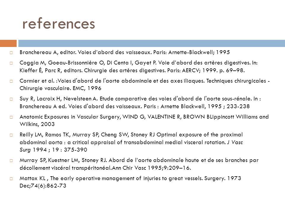 references Branchereau A, editor. Voies d'abord des vaisseaux. Paris: Arnette-Blackwell; 1995.