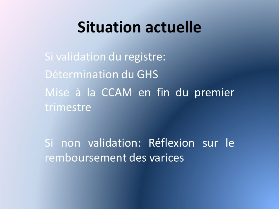 Situation actuelle Si validation du registre: Détermination du GHS