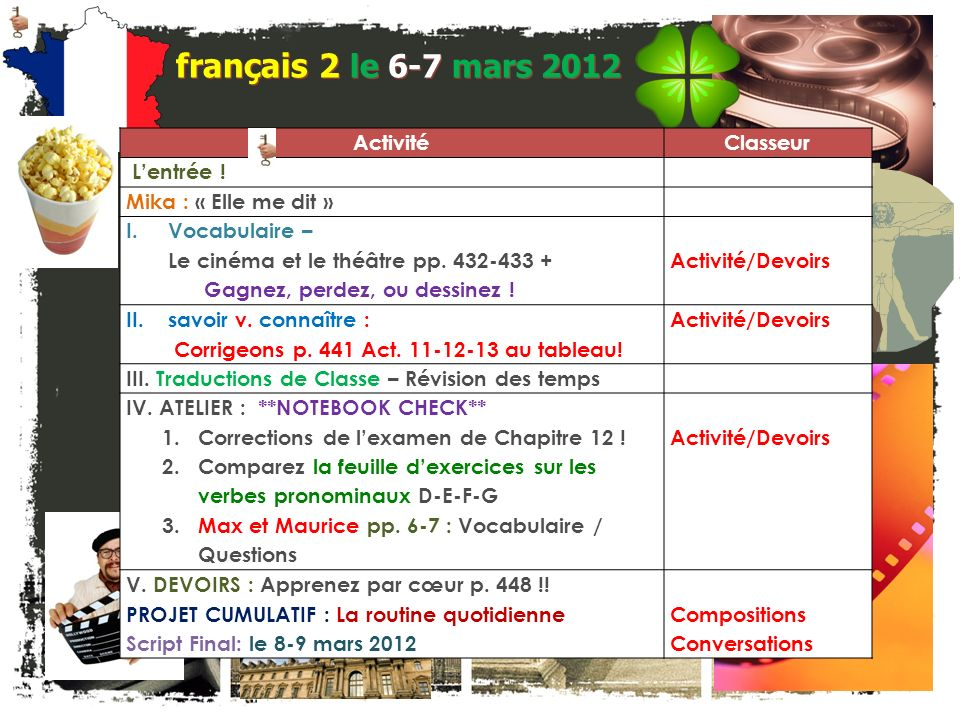 français 2 le 6-7 mars 2012 Activité Classeur L'entrée !