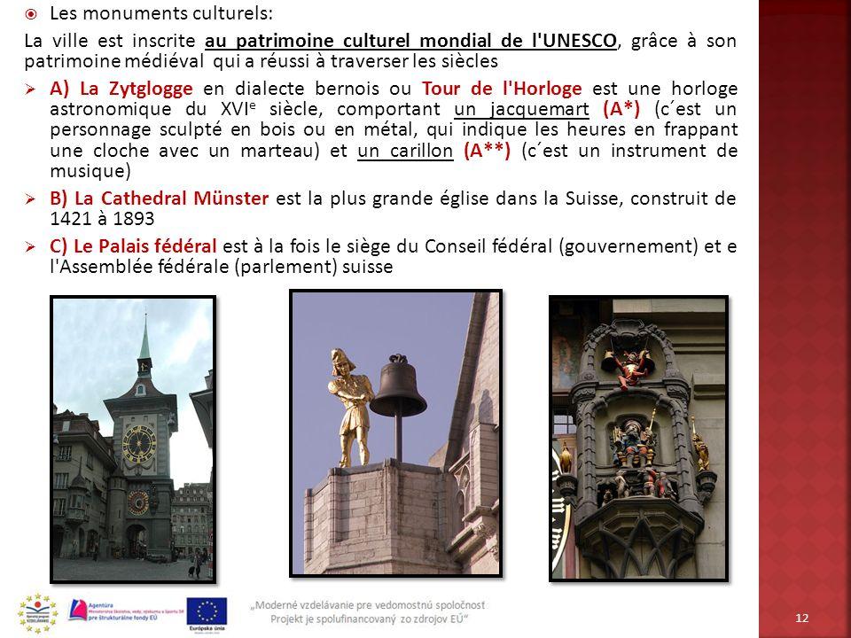 Les monuments culturels: