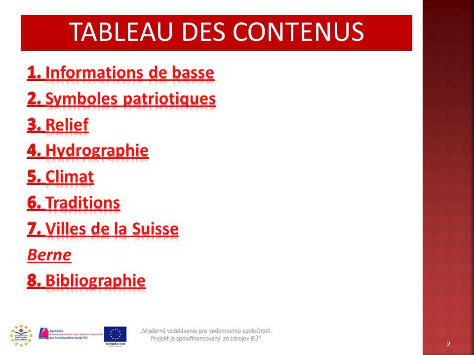 TABLEAU DES CONTENUS 1. Informations de basse 2. Symboles patriotiques