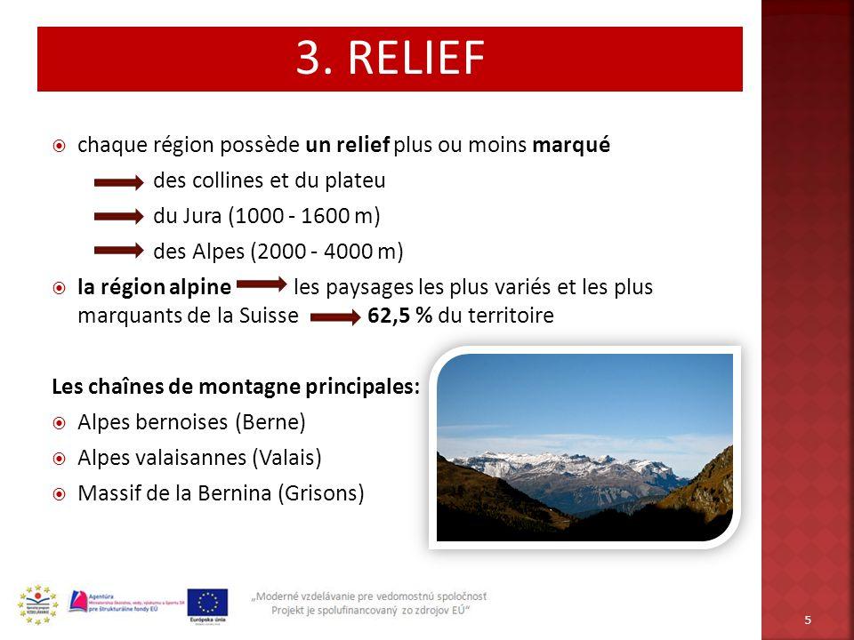 3. RELIEF chaque région possède un relief plus ou moins marqué