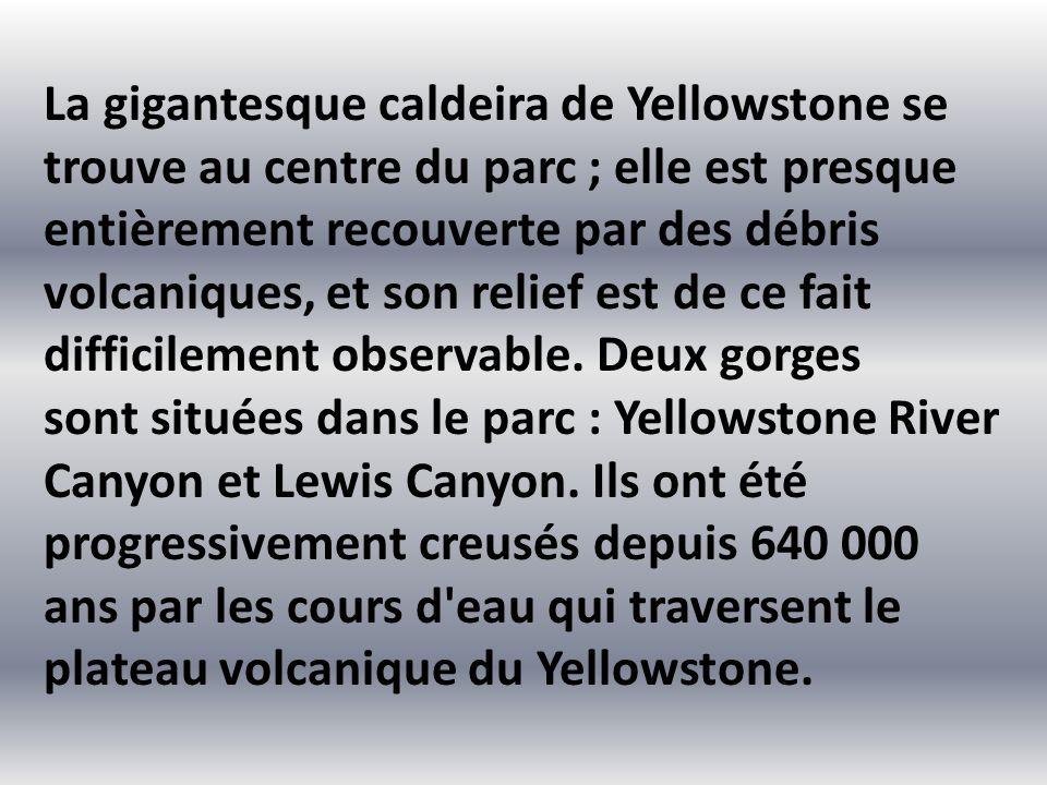 La gigantesque caldeira de Yellowstone se trouve au centre du parc ; elle est presque entièrement recouverte par des débris volcaniques, et son relief est de ce fait difficilement observable. Deux gorges