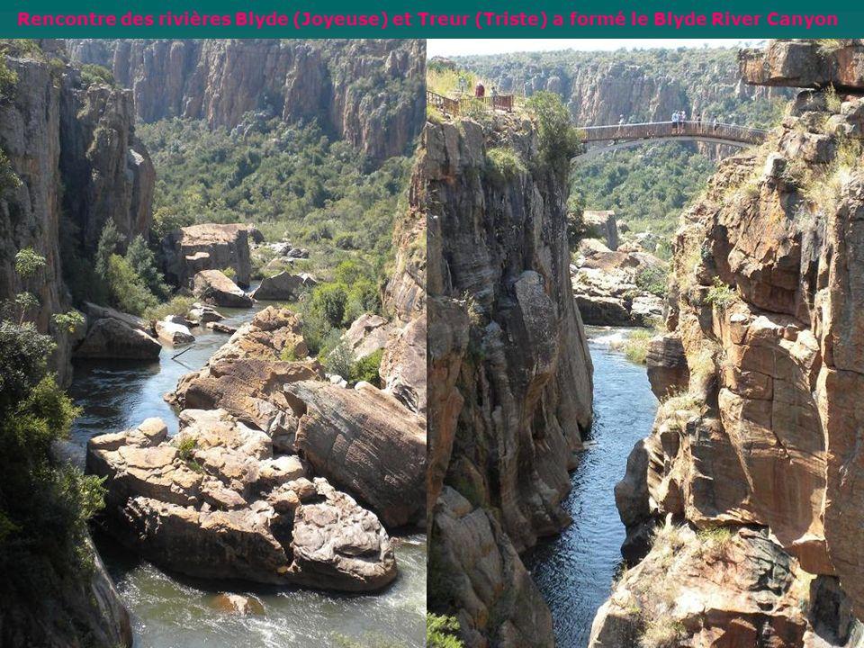 Rencontre des rivières Blyde (Joyeuse) et Treur (Triste) a formé le Blyde River Canyon