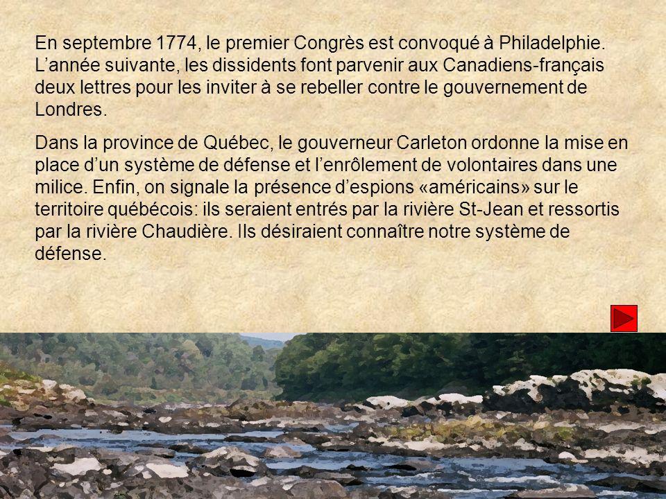 En septembre 1774, le premier Congrès est convoqué à Philadelphie