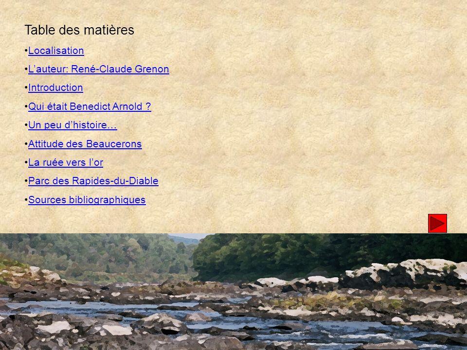 Table des matières Localisation L'auteur: René-Claude Grenon