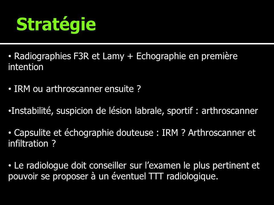 Stratégie Radiographies F3R et Lamy + Echographie en première intention. IRM ou arthroscanner ensuite