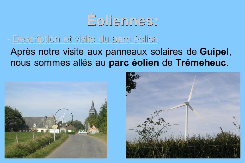 Éoliennes: - Description et visite du parc éolien