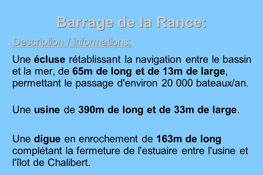 Barrage de la Rance: Description / informations:
