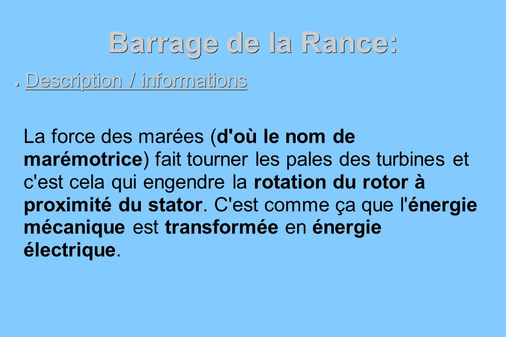 Barrage de la Rance: Description / informations