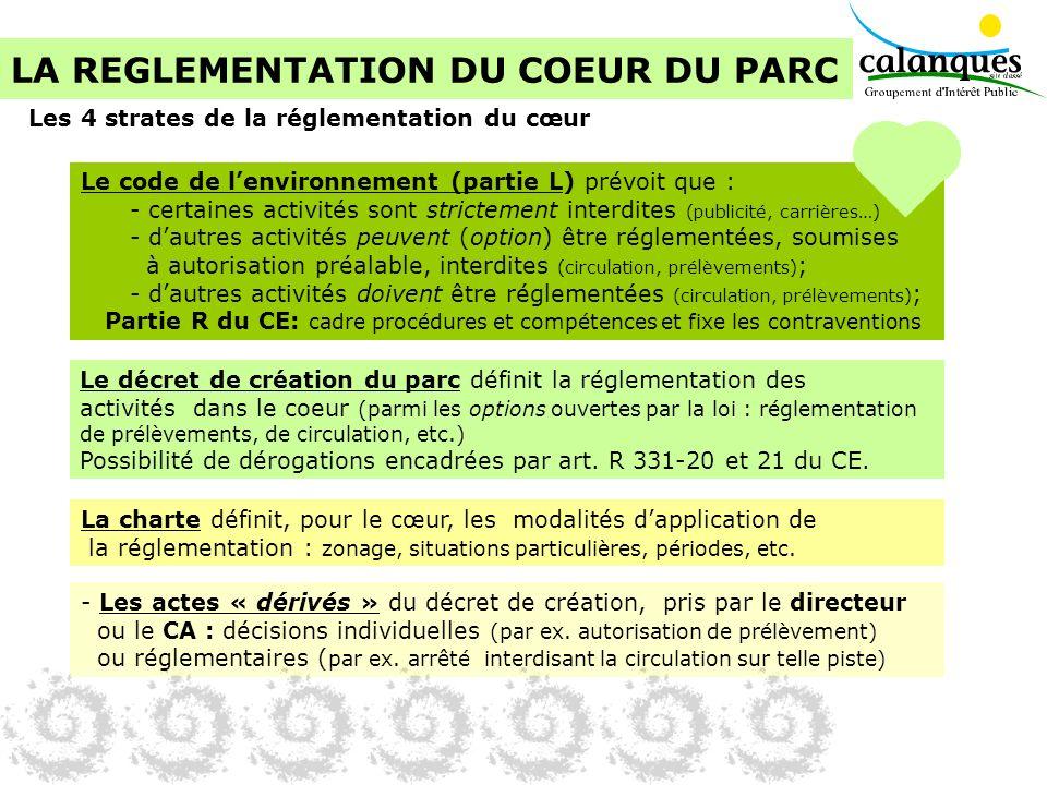 LA REGLEMENTATION DU COEUR DU PARC