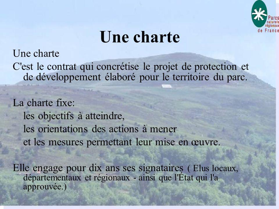 Une charte Une charte. C est le contrat qui concrétise le projet de protection et de développement élaboré pour le territoire du parc.
