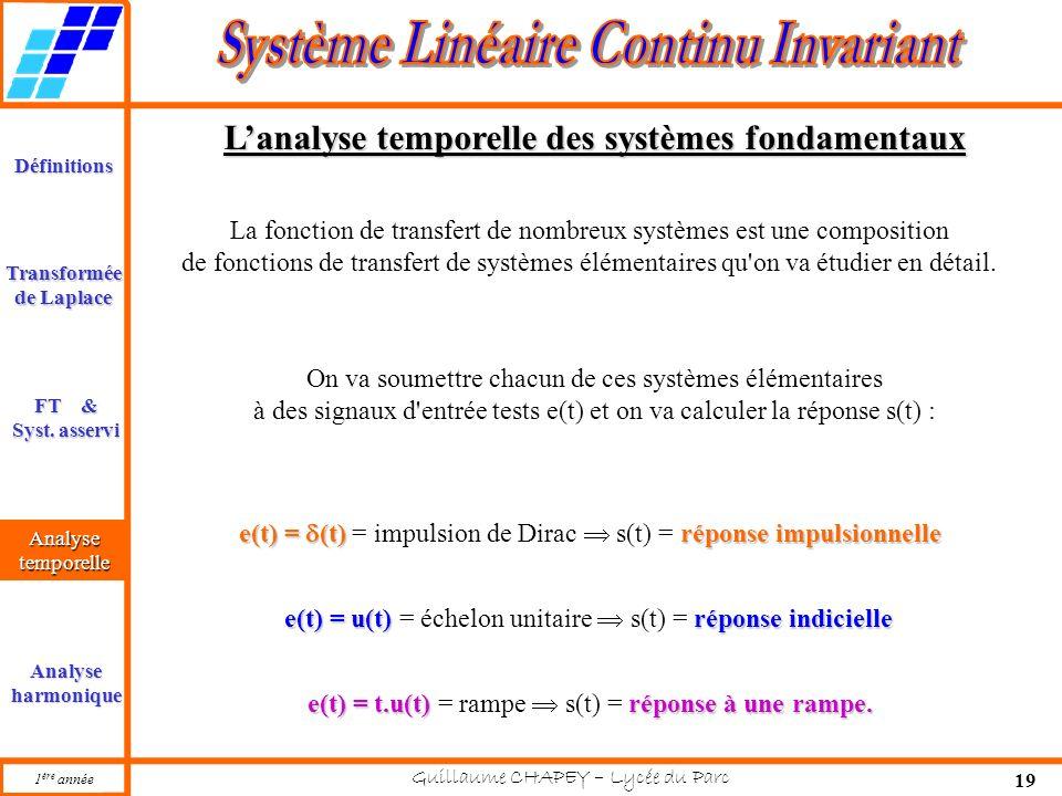 L'analyse temporelle des systèmes fondamentaux