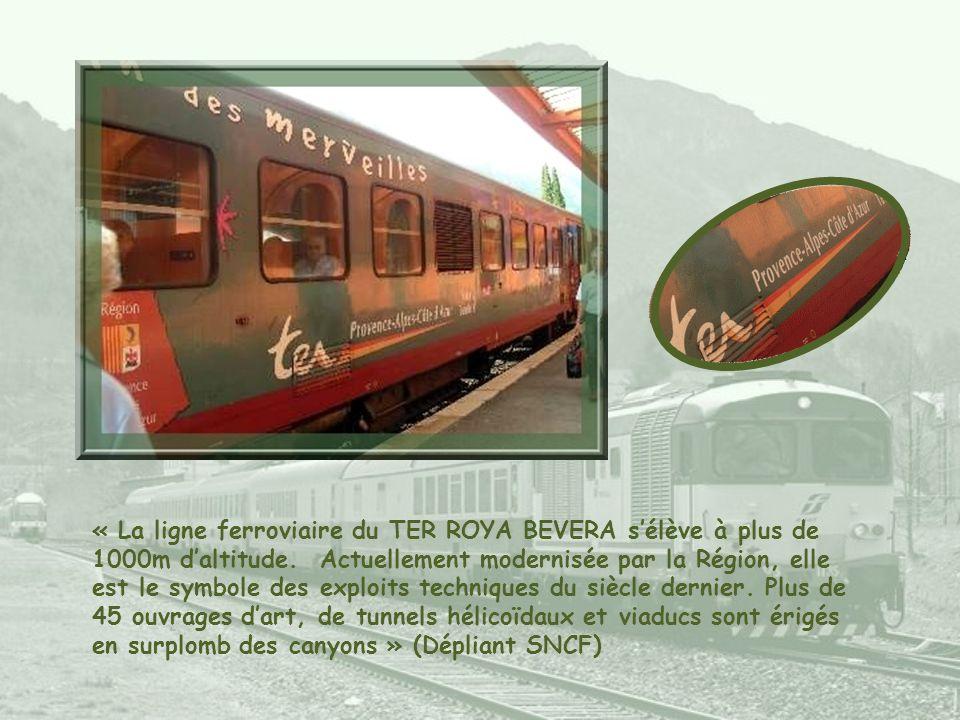 « La ligne ferroviaire du TER ROYA BEVERA s'élève à plus de 1000m d'altitude.