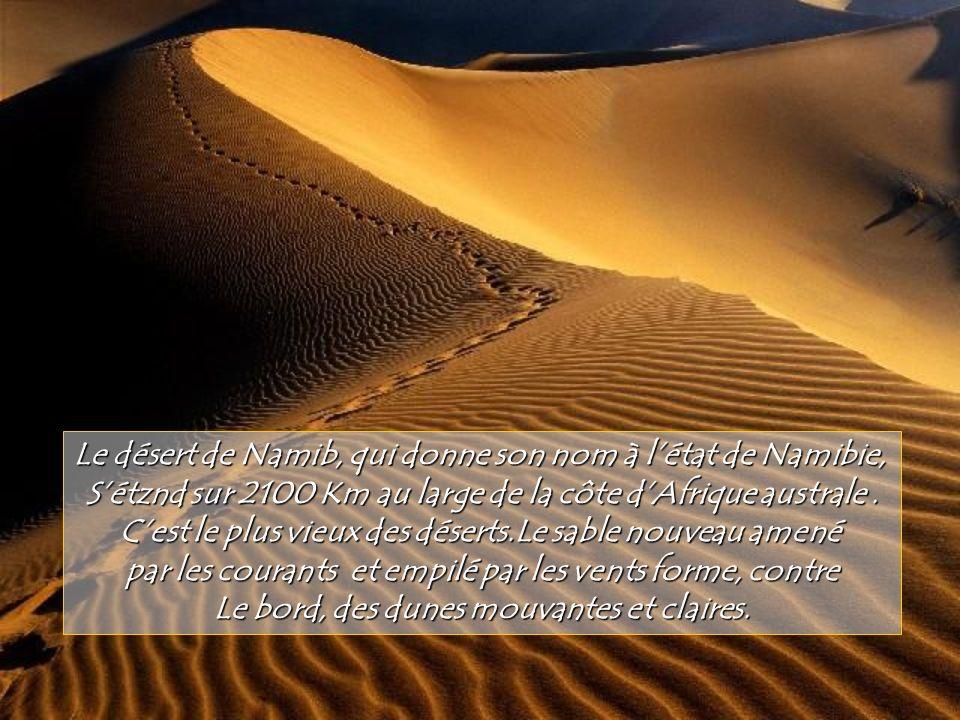 Le désert de Namib, qui donne son nom à l'état de Namibie,