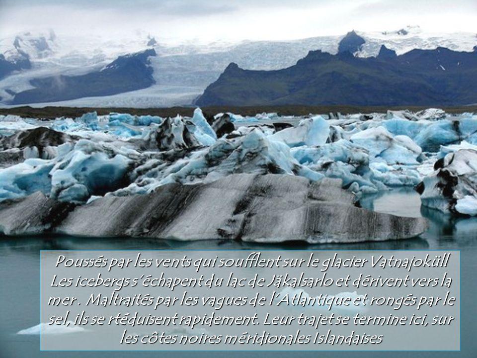 Poussés par les vents qui soufflent sur le glacier Vatnajoküll
