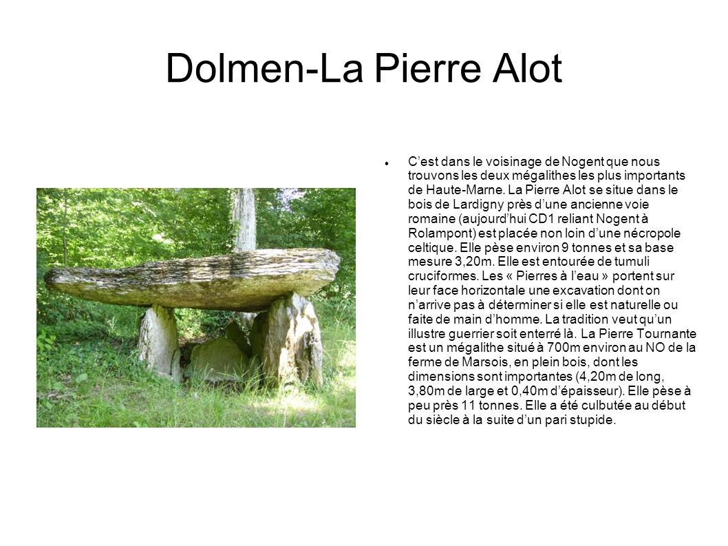 Dolmen-La Pierre Alot