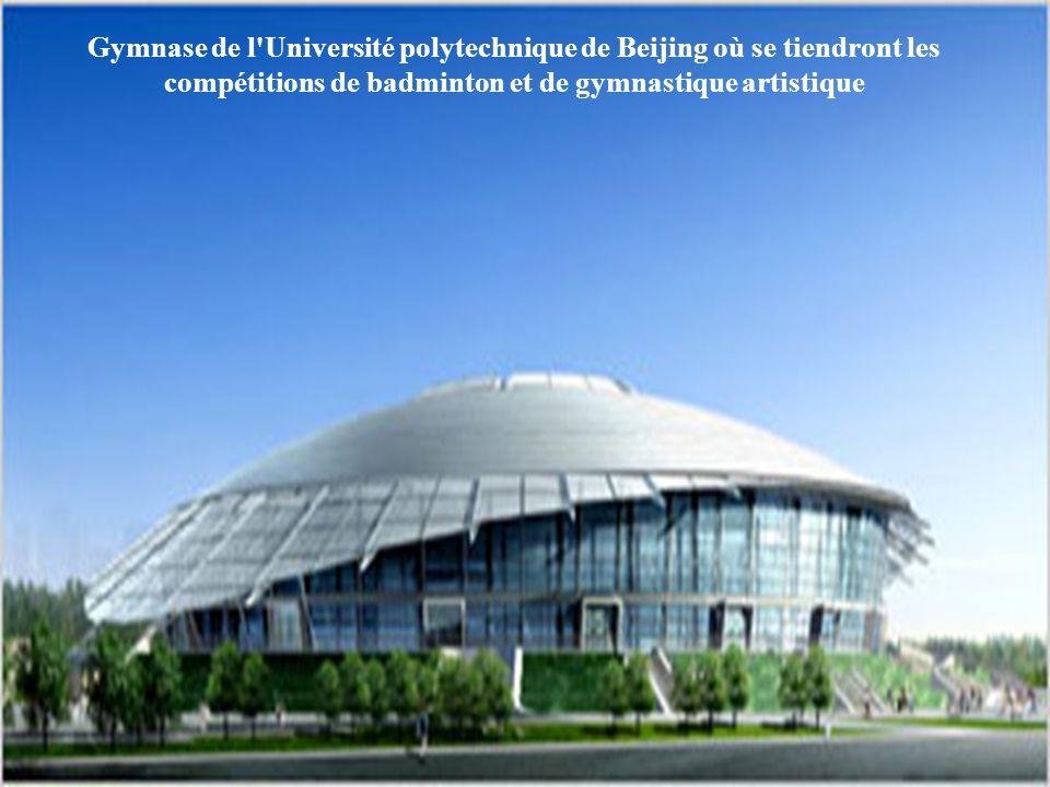 Gymnase de l Université polytechnique de Beijing où se tiendront les compétitions de badminton et de gymnastique artistique