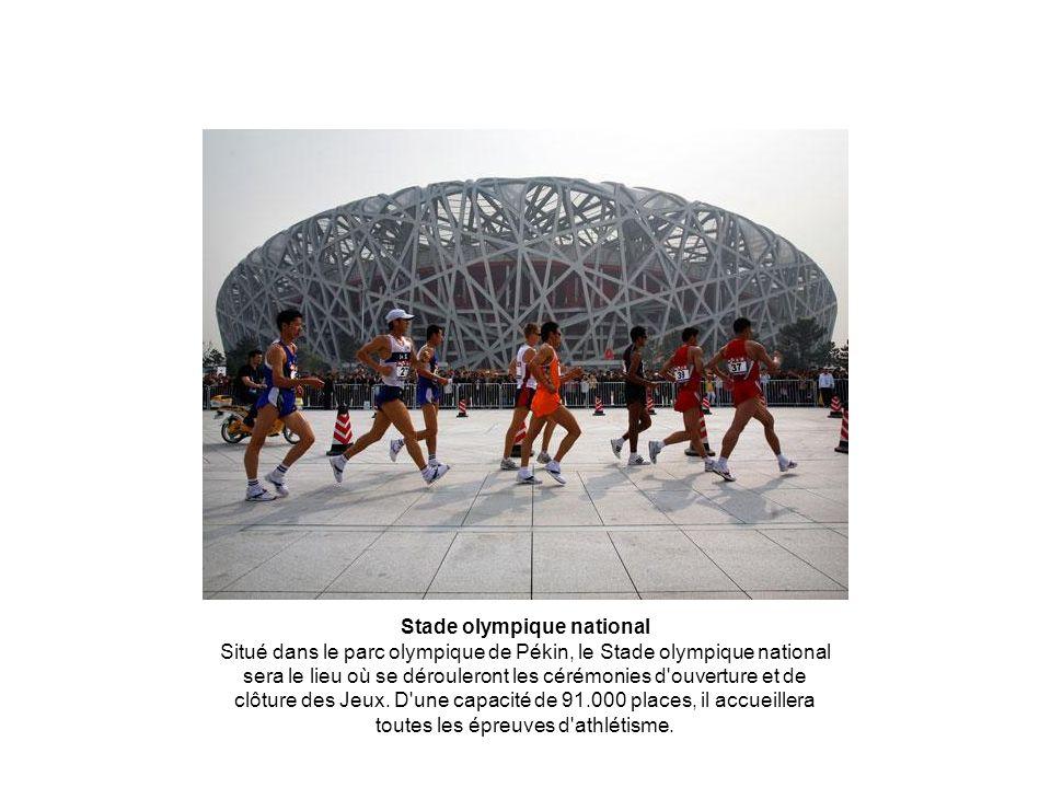 Stade olympique national Situé dans le parc olympique de Pékin, le Stade olympique national sera le lieu où se dérouleront les cérémonies d ouverture et de clôture des Jeux.