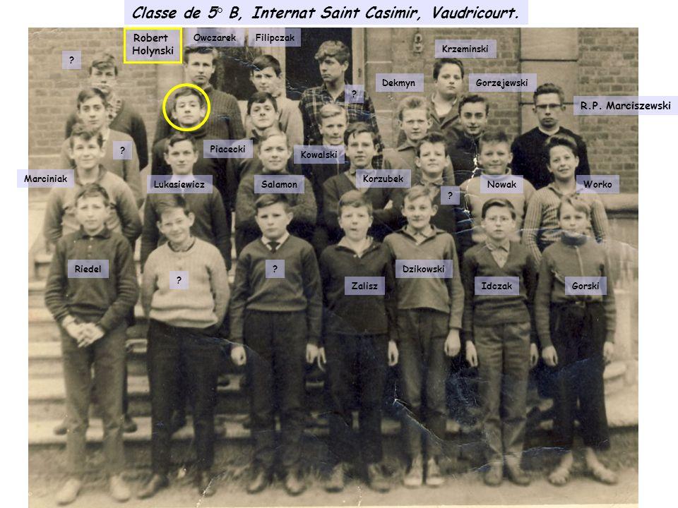 Classe de 5° B, Internat Saint Casimir, Vaudricourt.