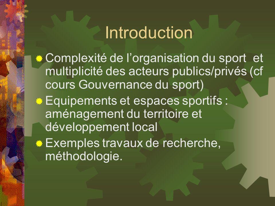 Introduction Complexité de l'organisation du sport et multiplicité des acteurs publics/privés (cf cours Gouvernance du sport)