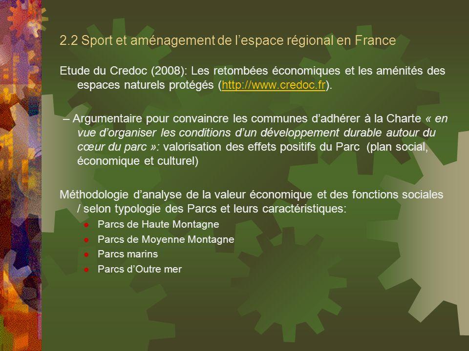 2.2 Sport et aménagement de l'espace régional en France