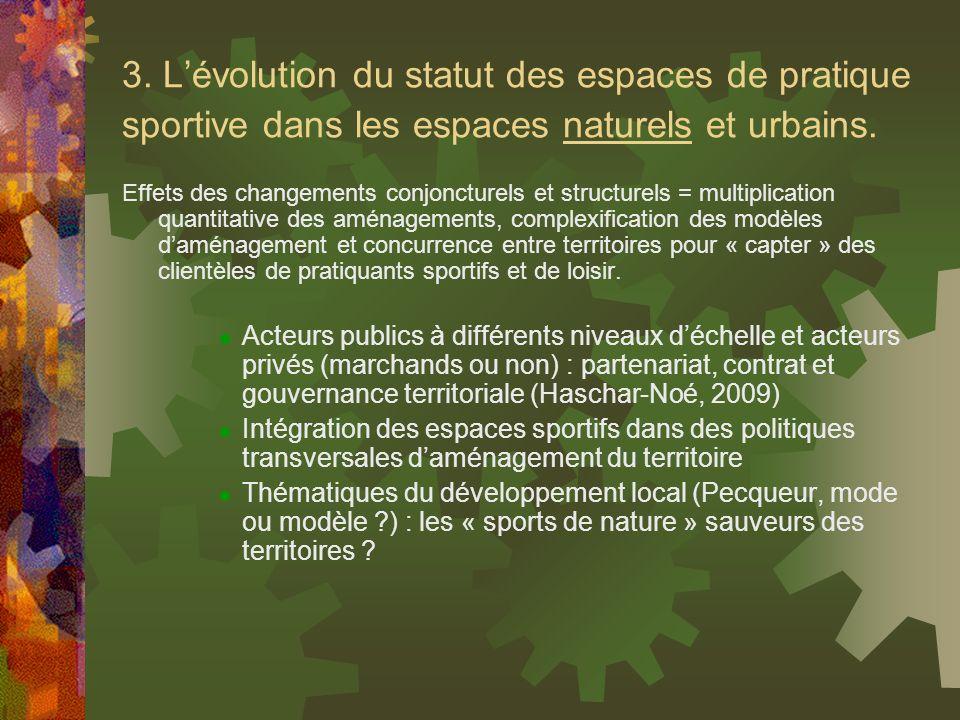 3. L'évolution du statut des espaces de pratique sportive dans les espaces naturels et urbains.