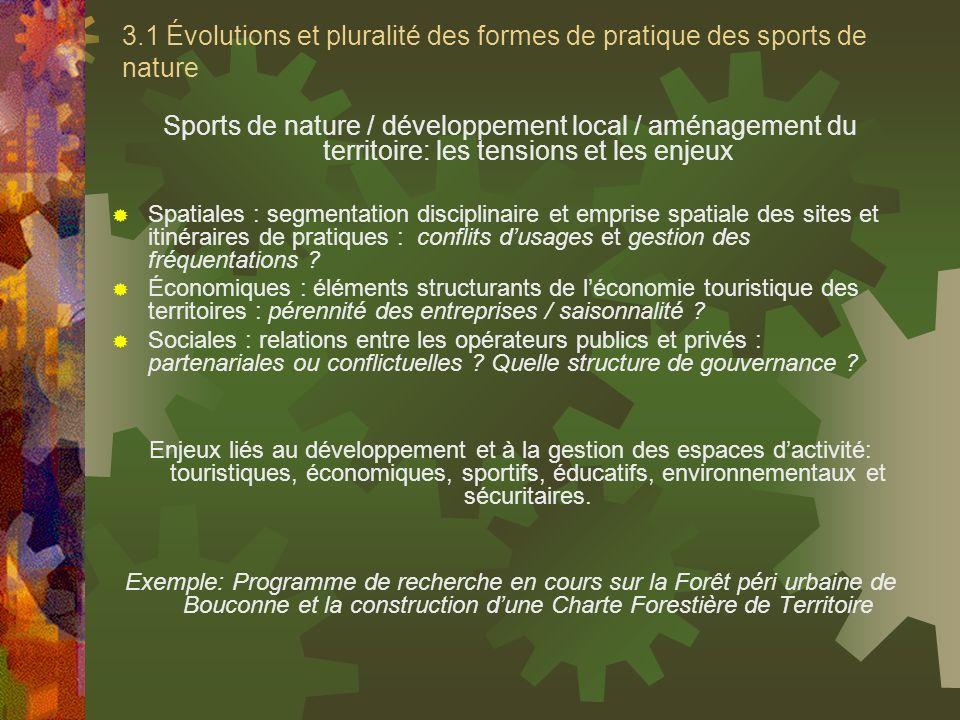 3.1 Évolutions et pluralité des formes de pratique des sports de nature
