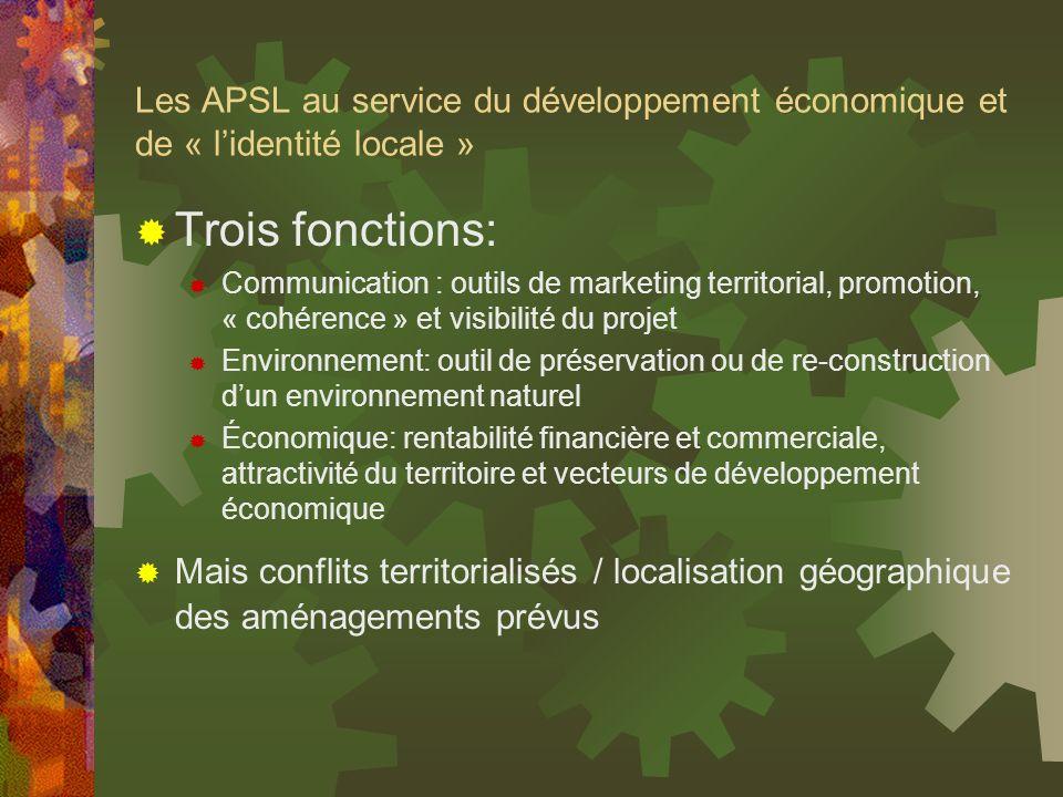 Les APSL au service du développement économique et de « l'identité locale »