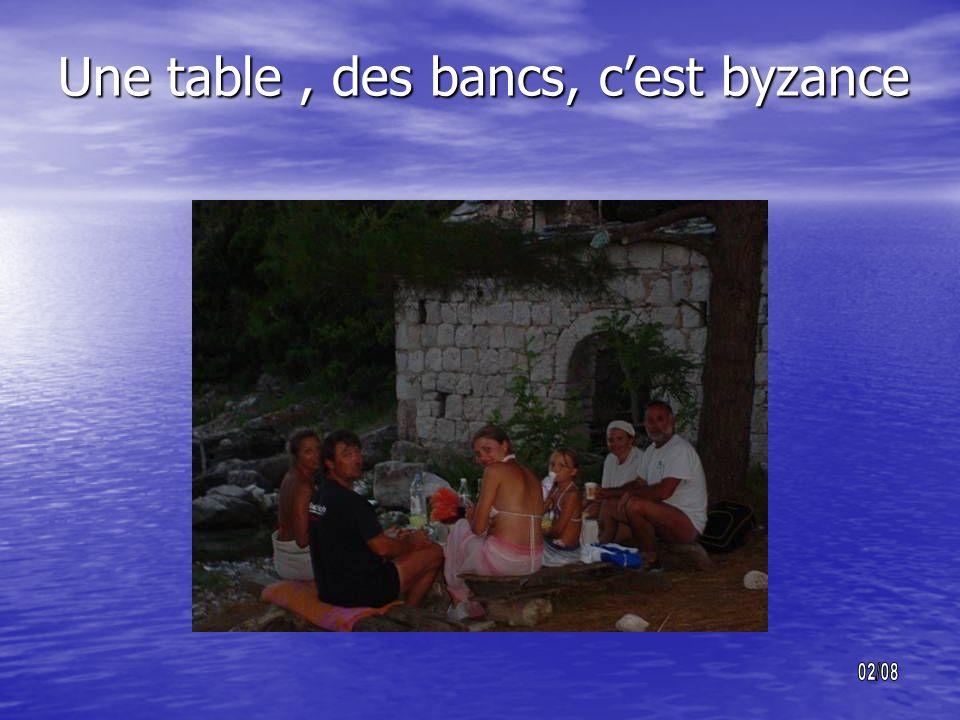 Une table , des bancs, c'est byzance