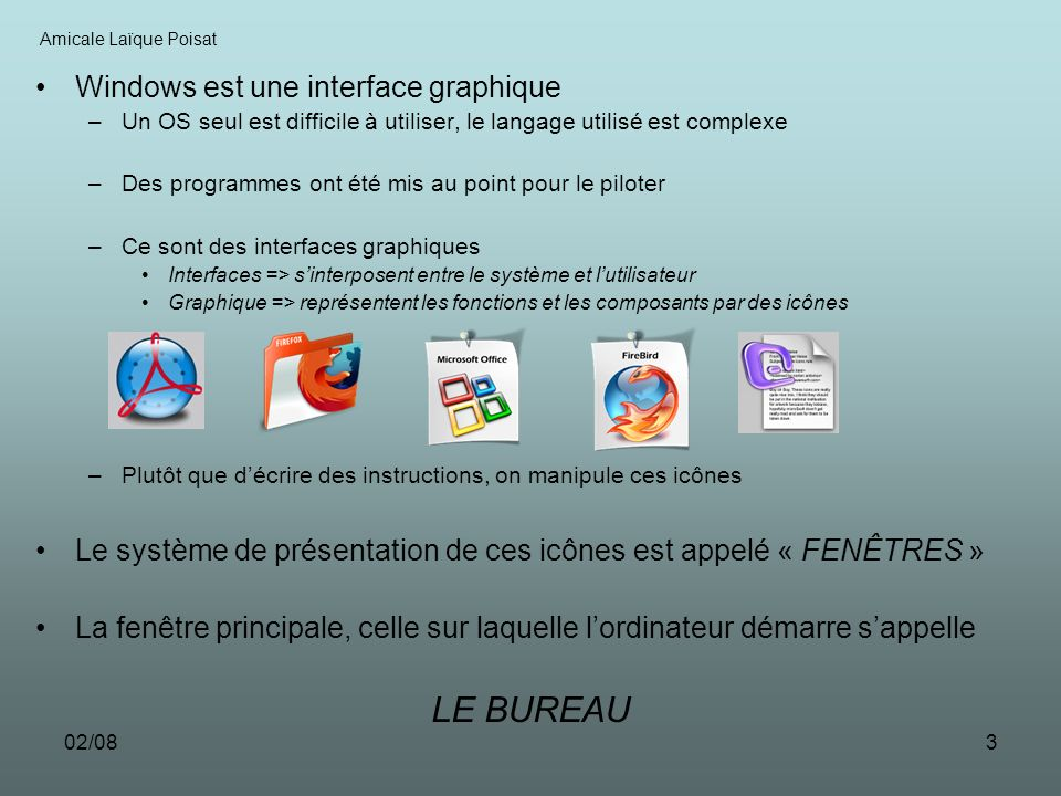 LE BUREAU Windows est une interface graphique