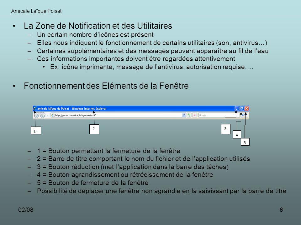 La Zone de Notification et des Utilitaires
